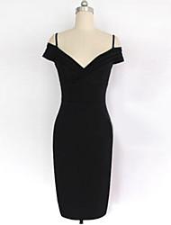 Monta Women's Straps V-Neck Bodycon Slim Dresses