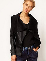 Women's Punk Lapel Coat Faux Leather Short Motorcycle Jacket
