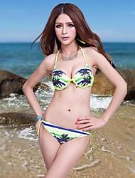 Foclassy Women's Push-Up Plus Size Bikini  Halter Top And Triangle Bottom 801