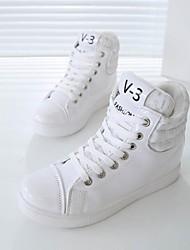 Sneakers de diseño ( Negro/Blanco Dedo redondo - Tacón Cuña - Cuero de charol - para MUJERES