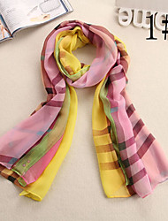 Ludy Women's Woolen Chiffon Colorful Pattern Scarf