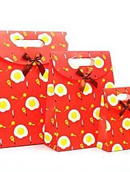 coway 3pcs a infância feliz sol vermelho colagem ovo sacos de papel do partido dos desenhos animados saco do presente conjunto