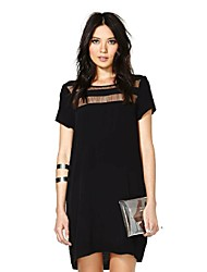Women's Casual Loose Formal Party Ladies See Through Short Sleeve Dress