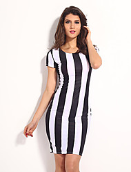 Dear-Lover Classic Black White Vertical Stripes Midi Dress
