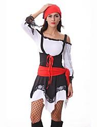 Costumes de Cosplay / Costume de Soirée Pirate Fête / Célébration Déguisement Halloween Rouge/noir Mosaïque Robe / Casque / Ceinture