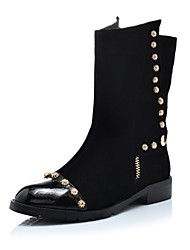 Women's Shoes Round Toe Leather Low Heel Mid-Calf Boots with Zipper