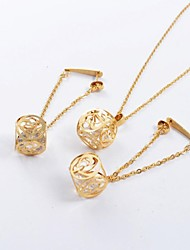 Fashion Gold Titanium Steel Hollow Out Heart Shape CZ Diamond Inside (Necklace&Earrings) Jewelry Set