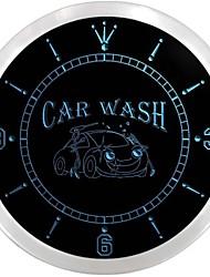 ouvert lavage de voiture magasin d'affichage enseigne au néon de l'automobile a conduit horloge murale