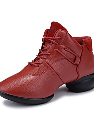 Non Customizable Women's Dance Shoes Dance Sneakers Leather Low Heel Black/Red