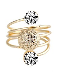 Personable Double Artificial Diamond Frosted Sphere Spiral Metal Rings (1Pc)