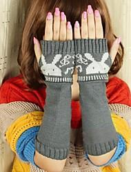 Women's  Fashion Personality Delicate Knitting Rabbit Wool Gloves