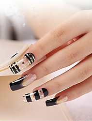 European Gold Star Black&White Long Length False Nail Art Tips