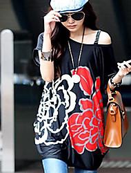 Verano de las mujeres vestidos de Corea impresa flor sueltos en la T-shirt