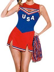 America Soccer Cheerleader Blue & Red Polyester Sexy Uniform