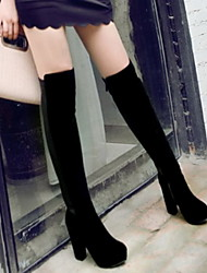 Flocking Women's Chunky Heel Pointed Toe Knee High Boots