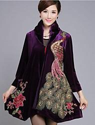 женская позиция павлин вышивка линия пальто