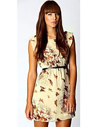 VERYM Women's Butterfly Print Chiffon Dresses