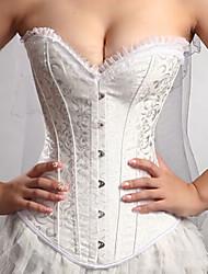 Moda feminina Sexy Branco Jacquard Noiva Palácio Corsets