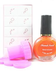 4PCS DIY Nail Art Stamping Kits(Orange Stamping Polish & Random Pattern Stamping Image Template)