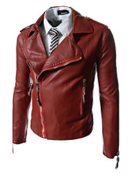JOGAL Men Punk Skull Embroidery Motorcycle Leather Jacket