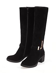Chaussures Femme - Habillé - Noir / Marron / Jaune - Gros Talon - Bout Arrondi - Bottes - Similicuir