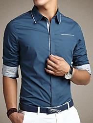 Men's Pure Color Slim Long Sleeve Shirt
