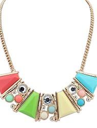 magnifique bloc de couleur pôle géométrique collier de déclaration de fantaisie des femmes