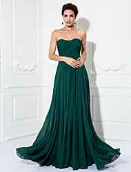 TS Couture Prom Formal Evening Military Ball Dress - Open Back A-line Princess Strapless Sweep / Brush Train Chiffon withDraping Criss