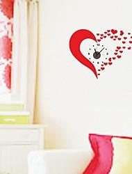 zooyoo® хронометрист Электронная батарея DIY милые красные сердца стены наклейки настенные часы стикер стены домашнего декора для комнаты