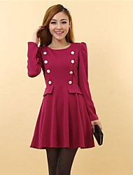 Women's Hubble-bubble Sleeve Twisted Buckle Posed  Adornment Dress