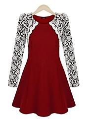 Women's Work Skater Dress,Color Block Crew Neck Mini Long Sleeve Red / Black Polyester Spring / Fall
