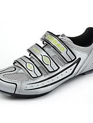 ciclismo de estrada sapatos tb16-b1230 com sola de fibra de vidro e couro pvc superior (prata + preto)