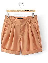 bouffant doble bolsillo pantalones cortos casuales de las mujeres