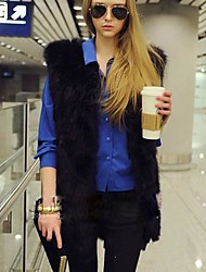 Women's Elegant Faux Fur V Neck Long Vest