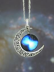 estrella galaxia collar de piedra de luna colgante de las mujeres