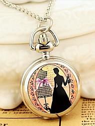 Women's Fashion Small Bowknot Dame Enamel Quartz Movement Necklace Watch