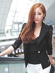 encaje bodycon moda manga larga de color sólido chaqueta de las mujeres e9