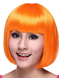 bob chica dulce de naranja de halloween fiesta de la peluca de las mujeres de la fibra sintética cortada