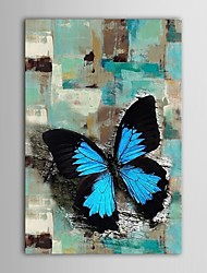 Hand Painted Oil Painting Animal  Abstract Bule Butterfly with Stretched Frame