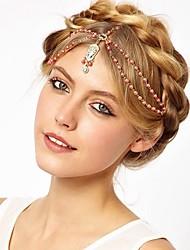 KL Wonen's Bohemian Diamonade Pearl Tassels Hair Band