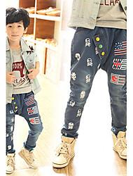 Pantaloni Maschile Con stampe Primavera / Autunno Denim