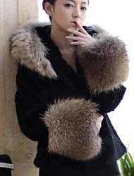 Women's Elegant OL Faux Fur Long Sleeve Splice Long Coat