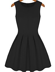 Women's Dress Mini Sleeveless Black Summer