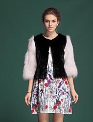 Zijindiao® Women's Genuine Mink Fur Coat with Fox Fur Sleeve