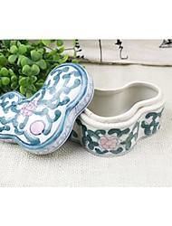 Lureme®Vintage Cyan and White Ceramic Jewelry Box(Cyan and White)(1 Pc)