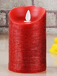 Romantic Emulational Red Stripes Paraffinic LED Electronic Candle