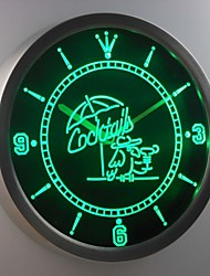 nc0309 Cocktails Papagei Bar Pub Club Leuchtreklame LED-Wand Uhr