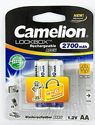 Camelion LockBox 2700mAh Low Self-discharge Ni-MH AA Rechargeable Battery (2pcs)