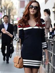 Xier v pescoço vestido de manga comprida malhas de moda