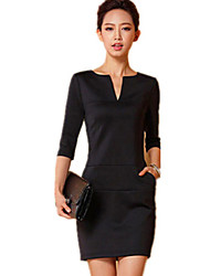 V Neck Long Sleeve Fashion Fitted Dress